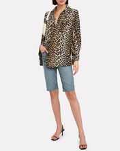 Crepe Leopard Button Down Shirt, MULTI, hi-res
