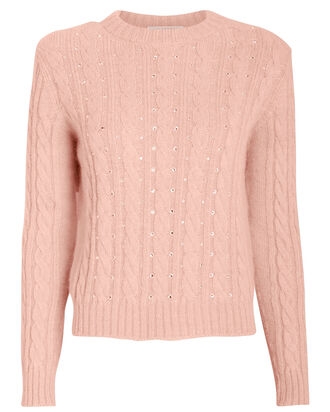 Crystal Embellished Cable Knit Sweater, BLUSH, hi-res