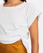 Joseph Ruched Cropped T-Shirt, WHITE, hi-res