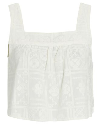 Emilia Embroidered Cotton Tank Top, IVORY, hi-res