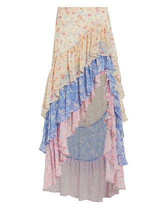 Lisette Silk High-Low Skirt, MIXED FLORAL, hi-res