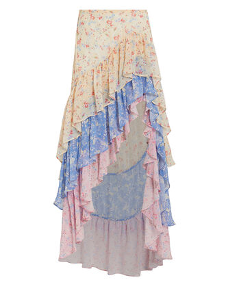 Lisette Silk High-Low Skirt, MULTI, hi-res