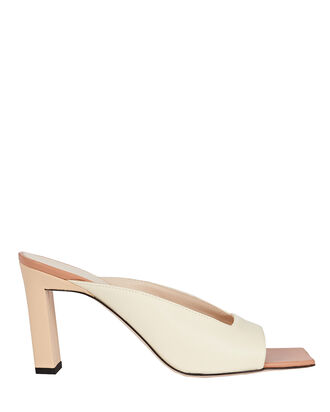 Isa Leather Slide Sandals, IVORY, hi-res