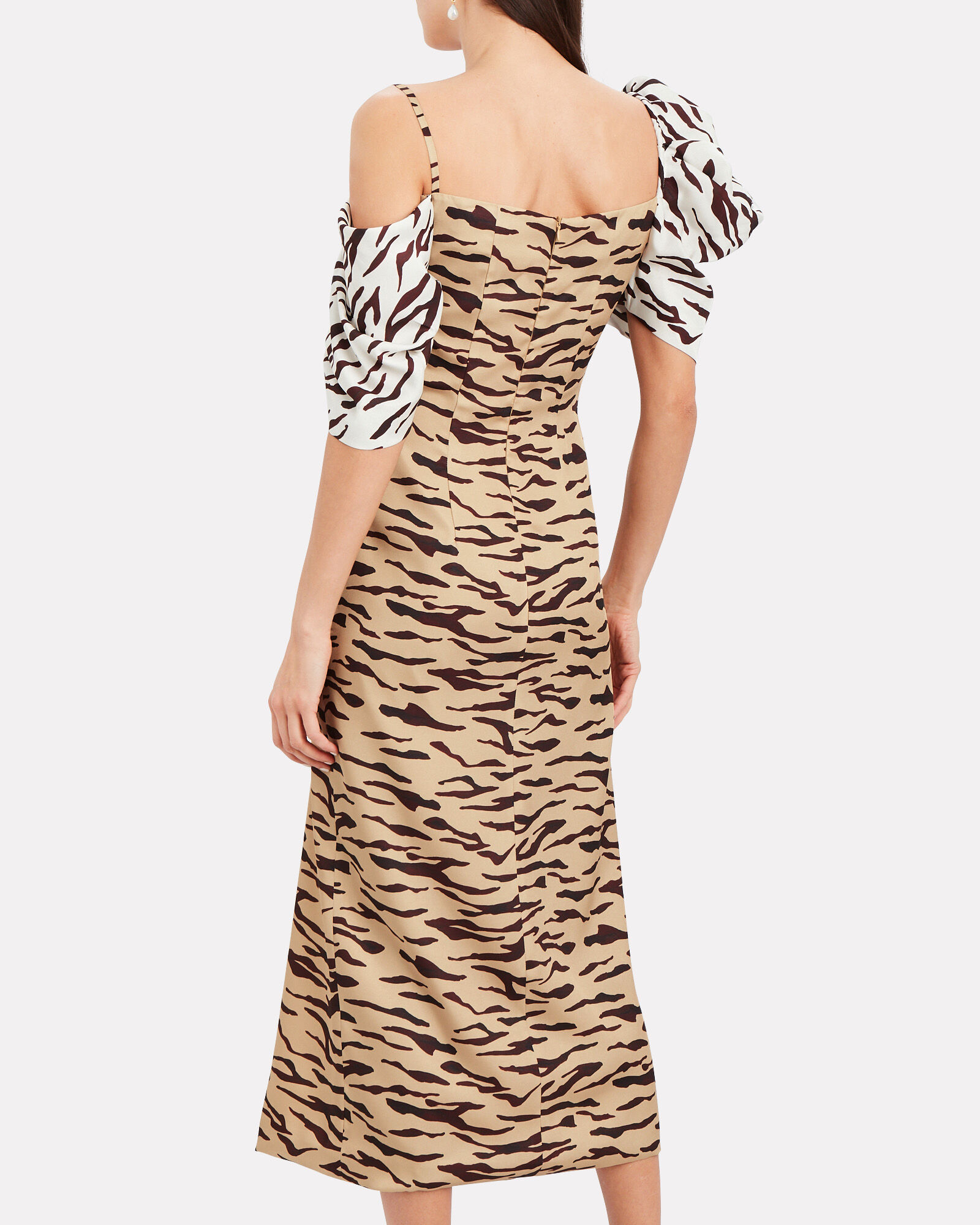 Amelia Tiger Print Dress, BEIGE/WHITE, hi-res