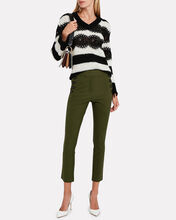 Cropped Twill Sailor Trousers, OLIVE GREEN, hi-res