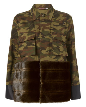 Camo Faux Fur Field Jacket, PRINT, hi-res