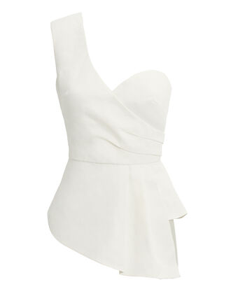 Katrina One Shoulder Top, WHITE, hi-res