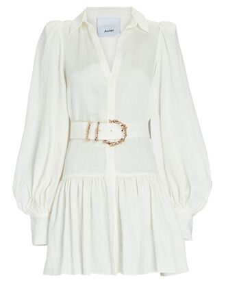 Sherwood Belted Mini Shirt Dress, IVORY, hi-res
