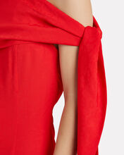 Leopard Poppy One-Shoulder Dress, RED, hi-res