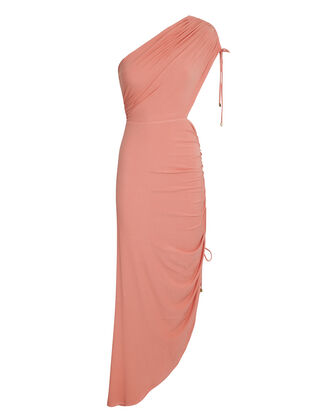 Sirene One-Shoulder Asymmetrical Midi Dress, ROSE, hi-res