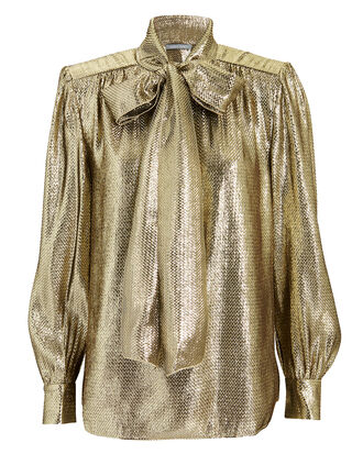 Gold Lamé Tie Neck Top, GOLD, hi-res