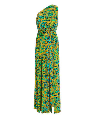 One-Shoulder Printed Gown, GREEN/GOLD, hi-res