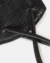 Twisted Lizard-Embossed Leather Wristlet, BLACK, hi-res