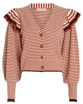 Rooney Striped Frill Cardigan, , hi-res