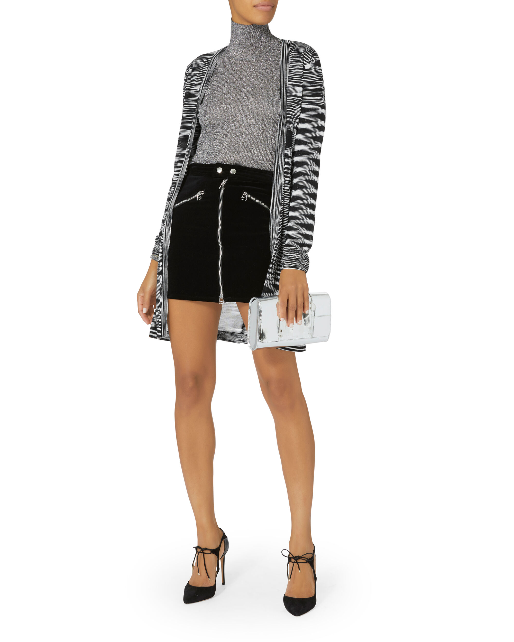 Space-Dyed Cardigan, BLK/WHT, hi-res