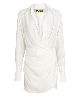 Naha Draped Mini Shirt Dress, IVORY, hi-res