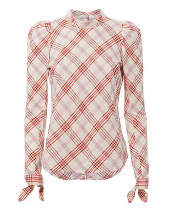 Isabel Plaid Top, PINK, hi-res