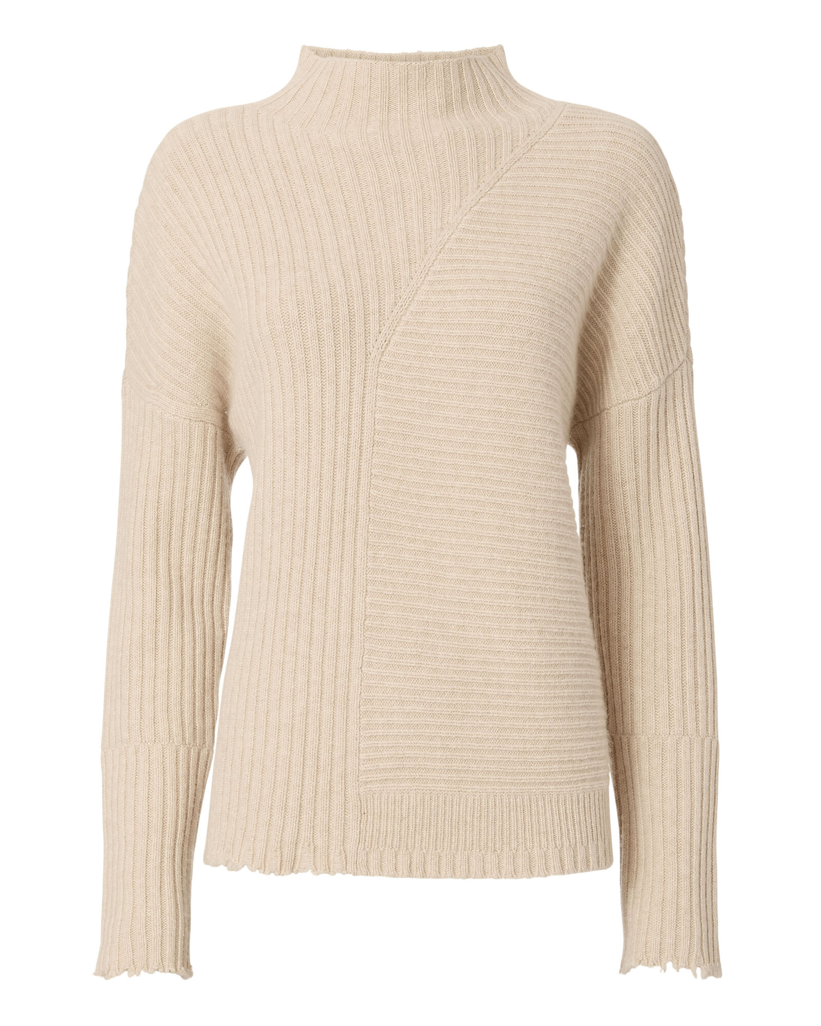 Preston Distressed Funnel Neck Sweater, BEIGE, hi-res