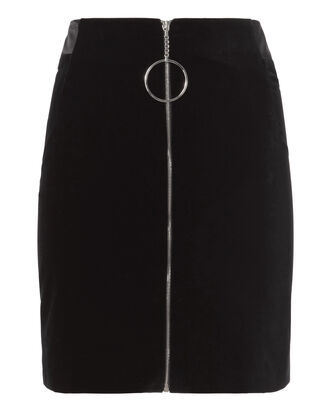 Zip Detail Velvet Mini Skirt, BLACK, hi-res