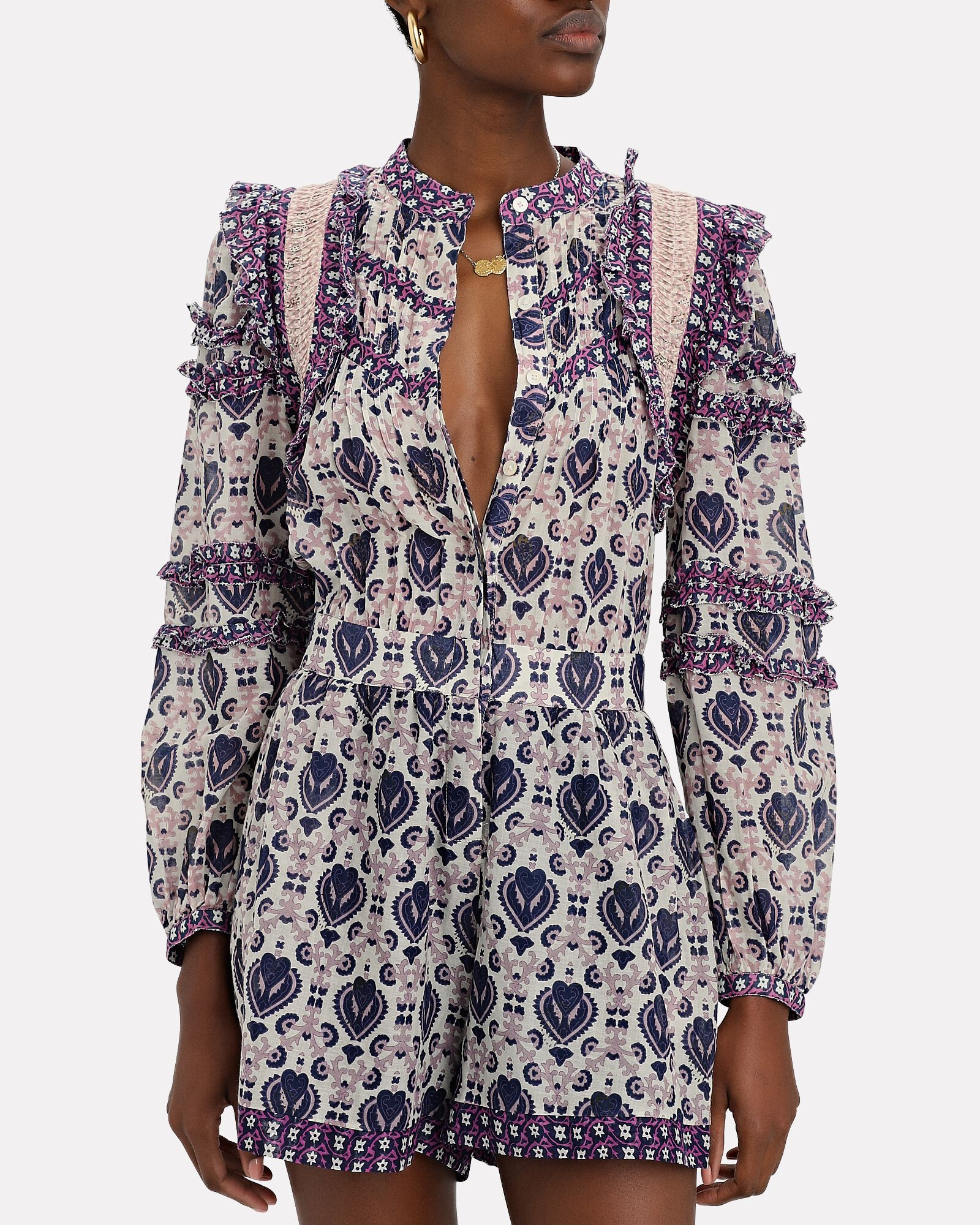 Brigitte Border Printed Romper, PURPLE/CREAM, hi-res
