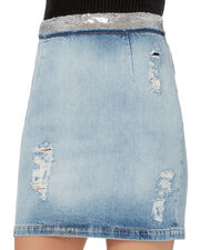 Sequin-Embellished Denim Pencil Skirt, DENIM-LT, hi-res