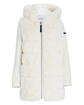 Hooded Faux Fur Puffer Coat, IVORY, hi-res