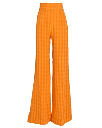 Piazza Checked Wide-Leg Pants, ORANGE, hi-res