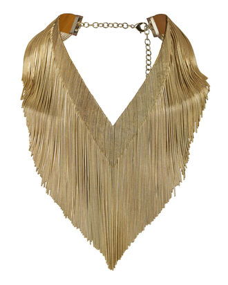 Ambra Gold Fringe Necklace       , METALLIC, hi-res