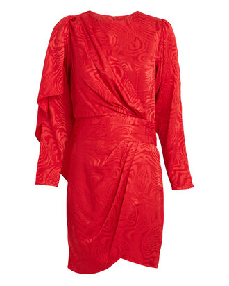 Shanaya Draped Moiré Dress, CRIMSON, hi-res