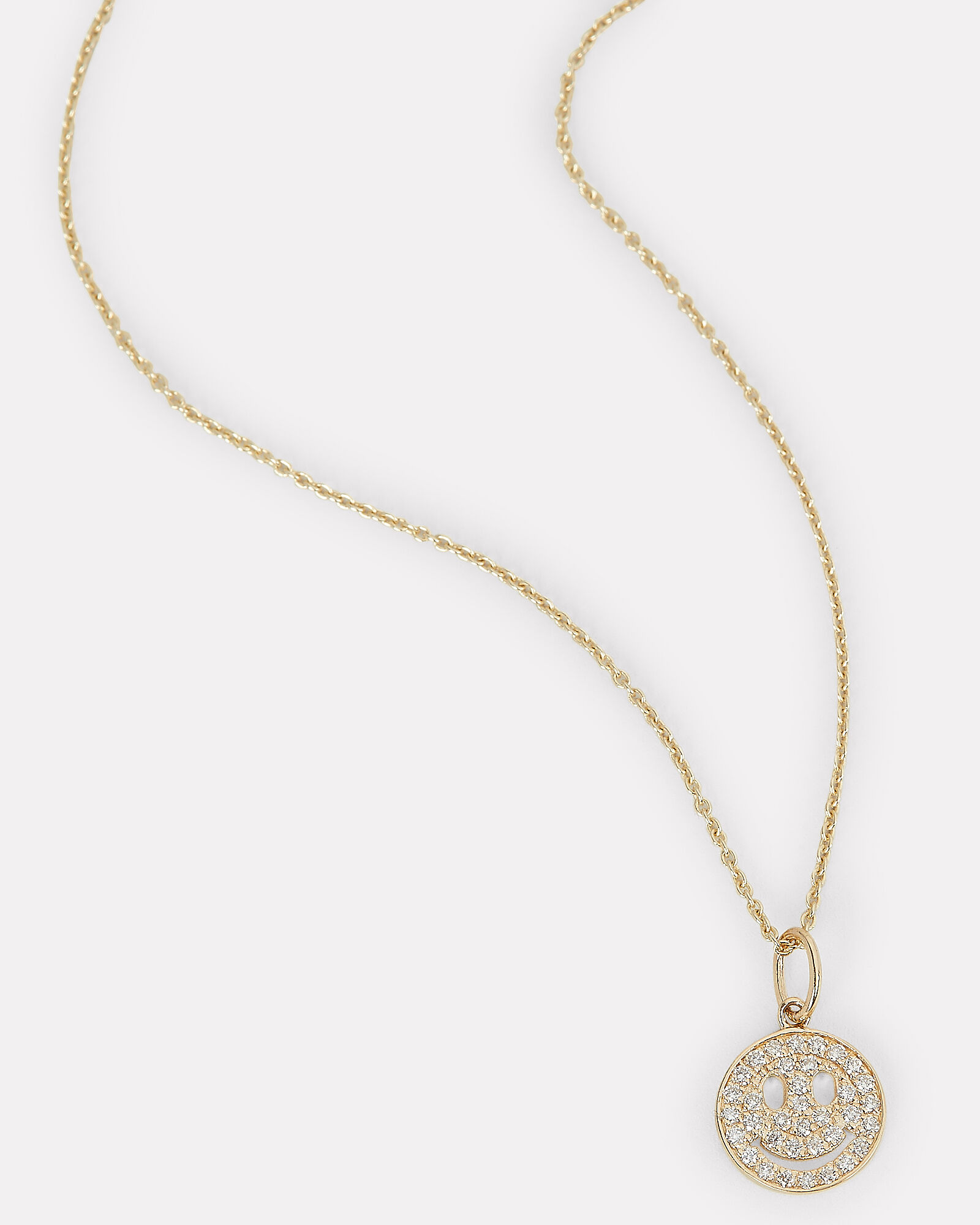 Diamond Happy Face Necklace, GOLD, hi-res