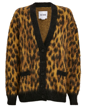 90s Oversized Leopard Cardigan, YELLOW/BLACK, hi-res