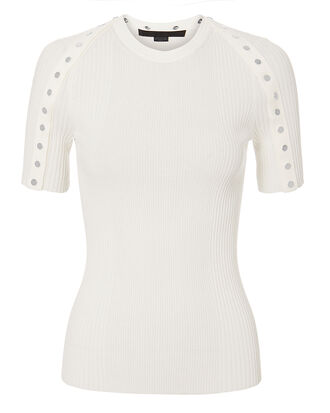 Snap Sleeve Top, IVORY, hi-res
