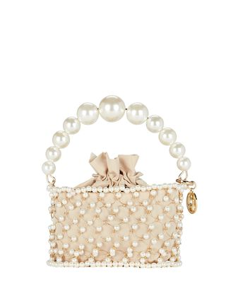 Mini Holli Cage Pearl And Crystal Clutch, BEIGE, hi-res