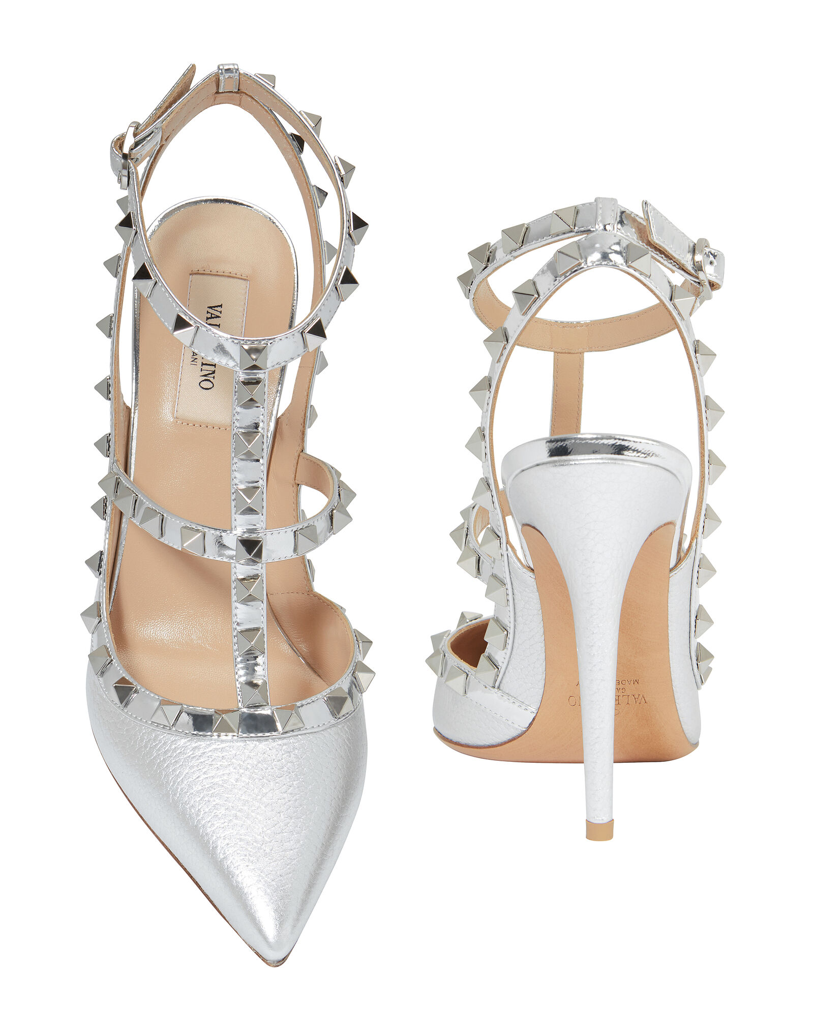 Rockstud Metallic Leather Pumps, SILVER, hi-res
