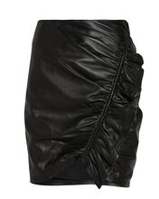 Jupiter Ruched Leather Mini Skirt, BLACK, hi-res