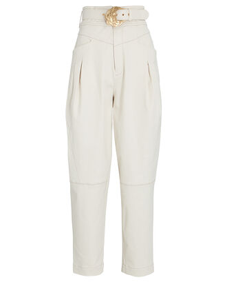 Damia Tapered High-Rise Pants, IVORY, hi-res