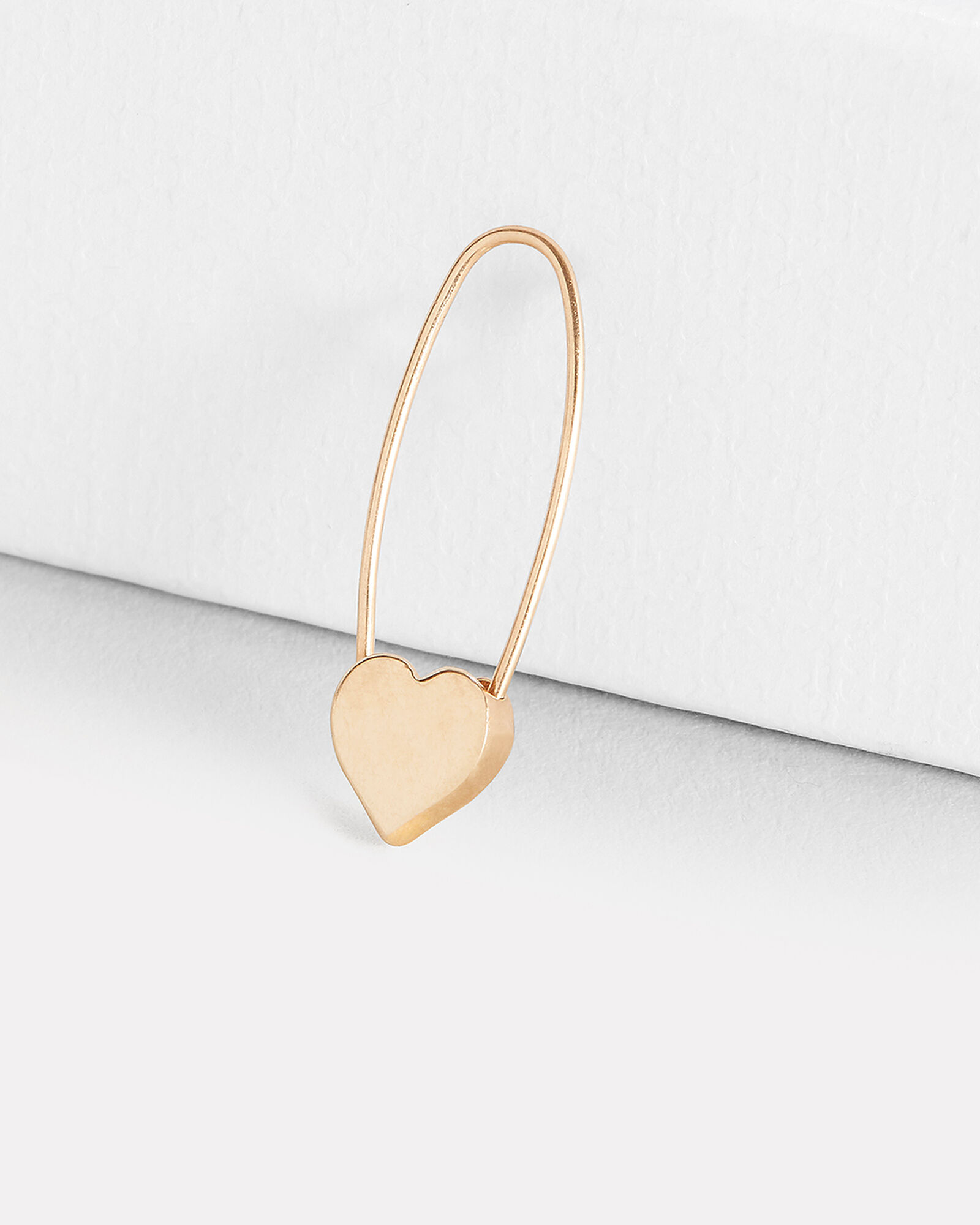 Heart Safety Pin Earring, GOLD, hi-res