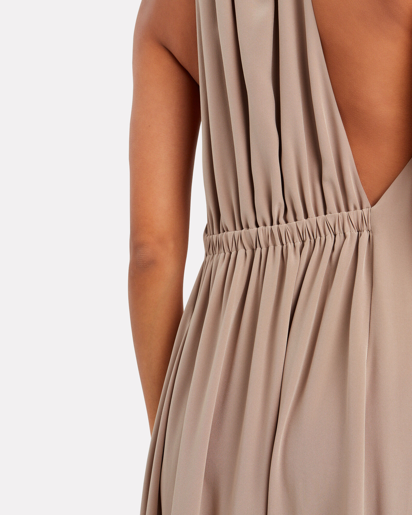 Silk CDC Crepe Dress, BEIGE, hi-res