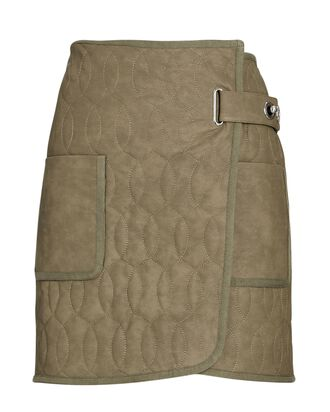 Melissa Quilted Vegan Leather Skirt, OLIVE/ARMY, hi-res