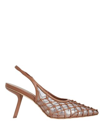 Soray Leather Slingback Pumps, BROWN, hi-res