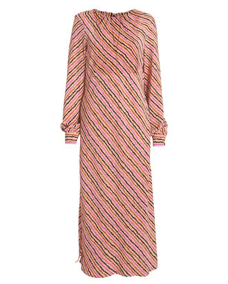 Celina Begonia Print Crepe Dress, PINK/STRIPE, hi-res