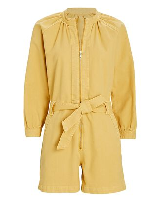 The Gatherer Long Sleeve Romper, YELLOW, hi-res