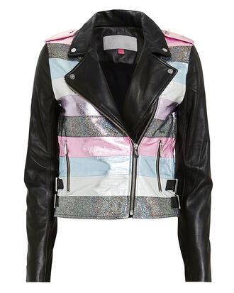 Nesso Crop Leather Jacket, BLACK, hi-res