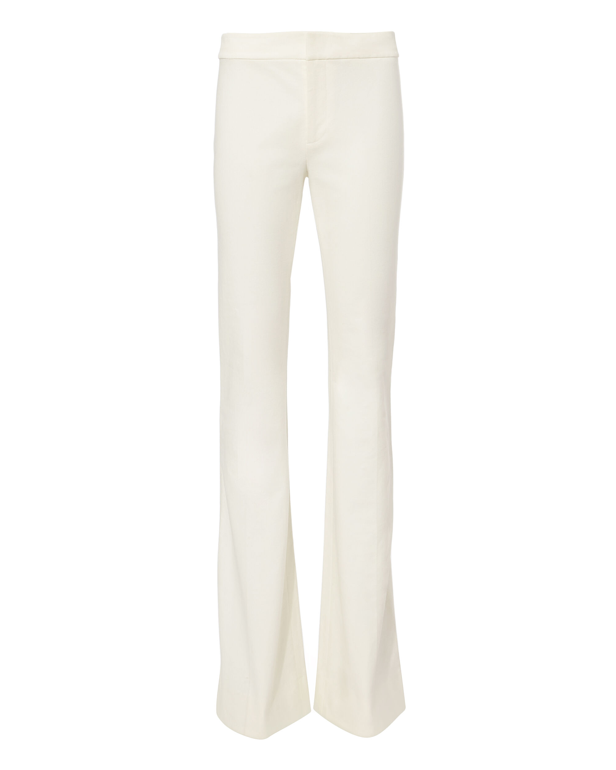 White Flare Trousers, WHITE, hi-res