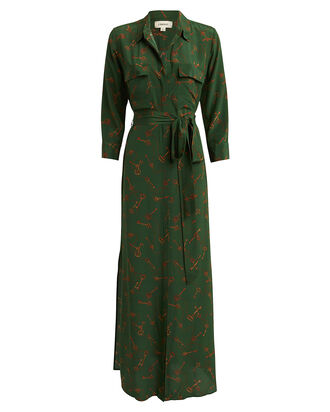Cameron Key-Printed Silk Shirt Dress, FOREST GREEN, hi-res