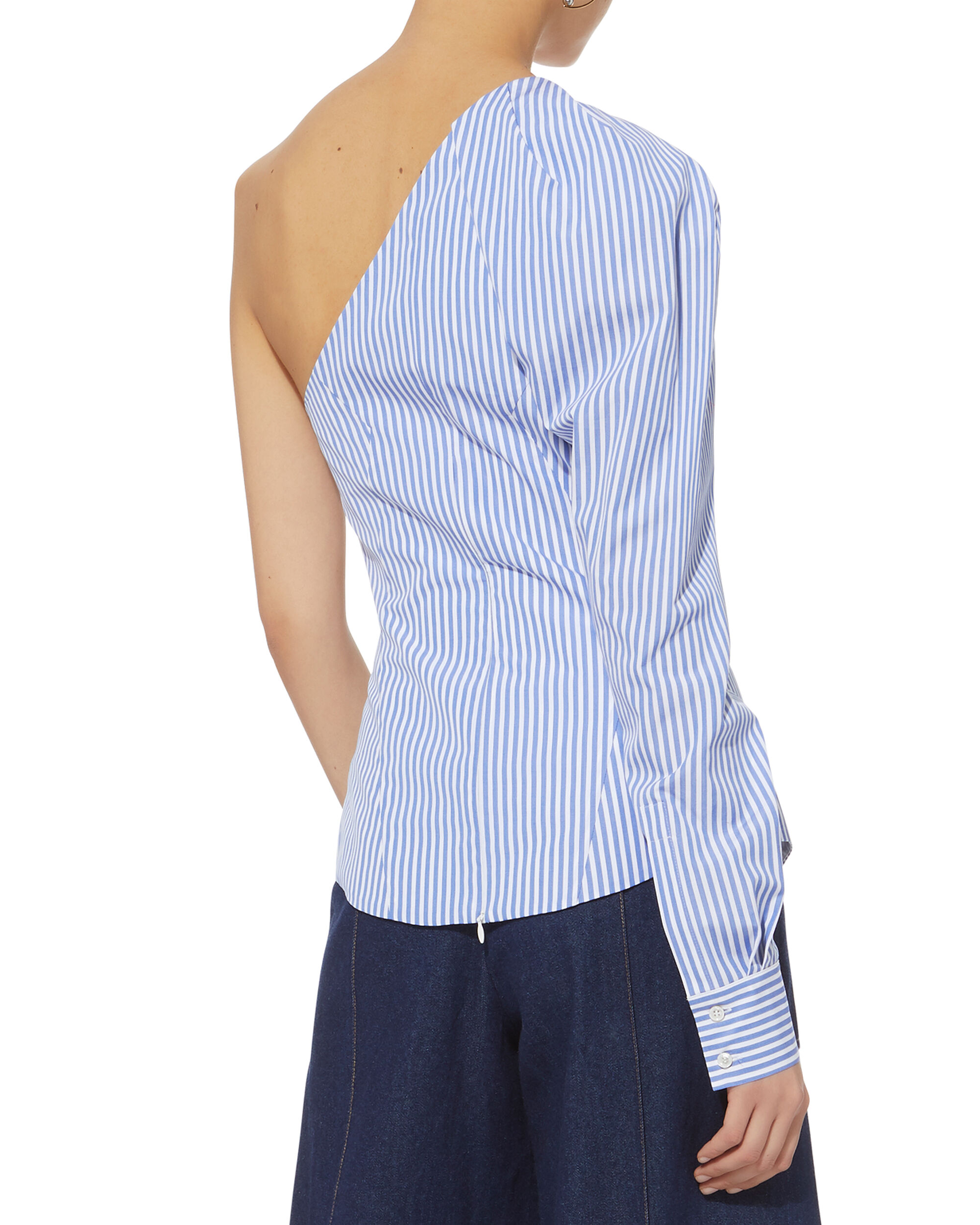 Striped One Shoulder Top, STRIPE, hi-res
