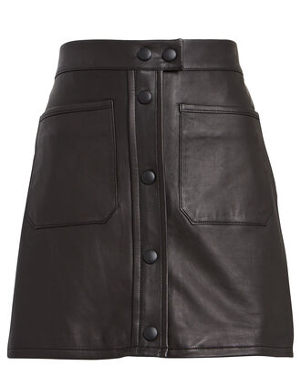 Leather Patch Pocket Mini Skirt, BLACK, hi-res