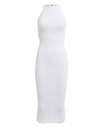 Sleeveless Rib Knit Dress, WHITE, hi-res