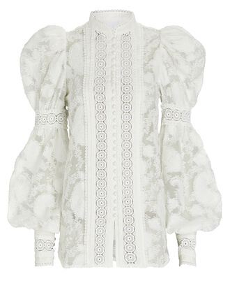 Suffield Lace-Trimmed Puff Sleeve Blouse, WHITE, hi-res