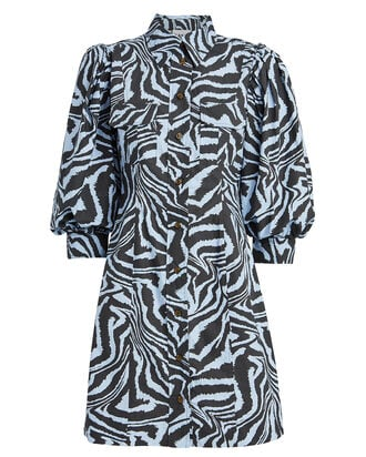 Zebra Poplin Shirt Dress, BLUE/ZEBRA PRINT, hi-res